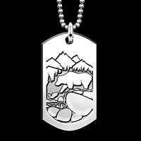 Fishing Bears Dog Tag