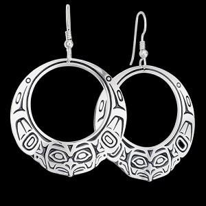 Raven Hoop Lg Earrings