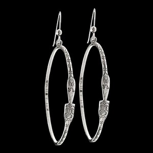 Narrow Raven Hoop Earrings