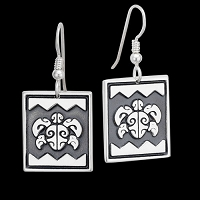 Honu Head Square Earrings