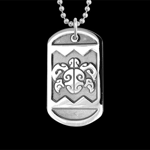 Honu Head Square Dog Tag